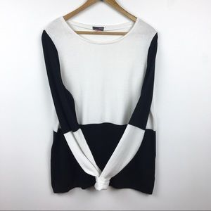 Vince Camuto Knit Sweater Top Size XL Black White